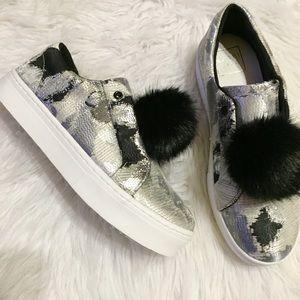Shoes - Silver/black metallic sheen Pom Pom shoes